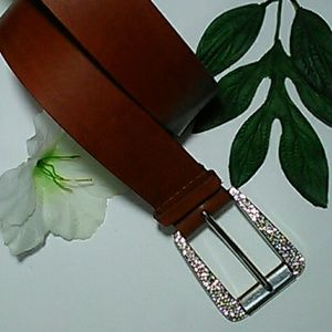 Michael Kors genuine leather gemstone buckle belt